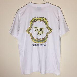 Vintage 1990s Cozumel Bite Me Shark Jaw T-Shirt